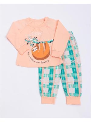 Пижама: лонгслив, брюки Mark Formelle. Цвет: бирюзовый, оранжевый, персиковый