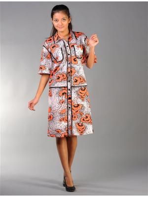 Трикотажный халат Тефия. Цвет: белый, оранжевый, черный