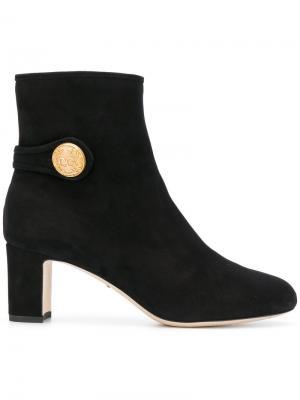 Ботильоны с золотистой пуговицой Dolce & Gabbana. Цвет: чёрный