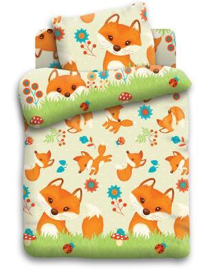 Комплект постельного белья Кошки-Мышки. Цвет: светло-зеленый, бежевый, оранжевый, белый
