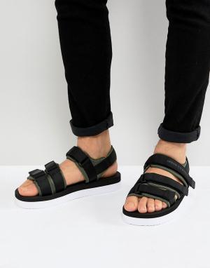 Armani Exchange Черные сандалии с ремешками. Цвет: черный