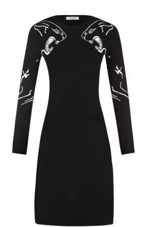 Вязаное платье с длинным рукавом и принтом Valentino. Цвет: черно-белый