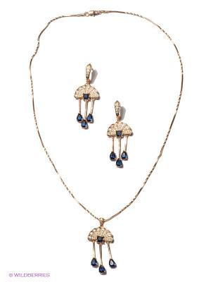 Комплект Lovely Jewelry. Цвет: золотистый, синий, прозрачный
