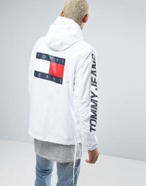 Tommy Jeans Белая складываемая куртка в стиле 90-х с капюшоном M16. Цвет: белый