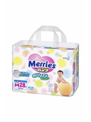 Трусики-подгузники для детей размер M 6-10кг, 28шт MERRIES. Цвет: белый