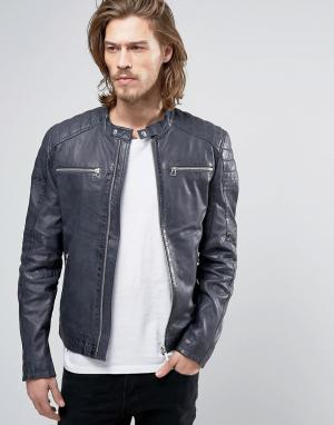 Goosecraft Кожаная куртка со стегаными вставками насыщенного синего цвета Goosecr. Цвет: синий