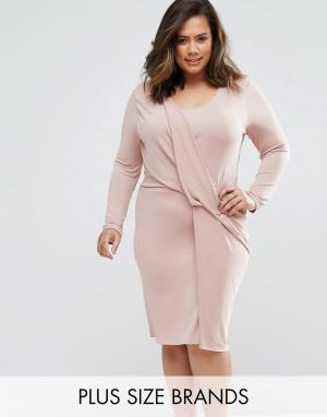 Elvi Платье с перекрученным дизайном Plus. Цвет: розовый