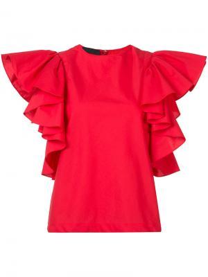 Блузка с рюшами на рукавах Co. Цвет: красный