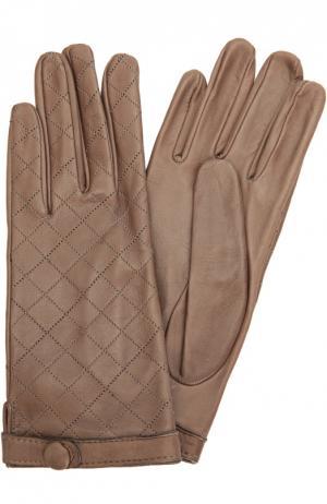 Кожаные перчатки с прострочкой Sermoneta Gloves. Цвет: бежевый