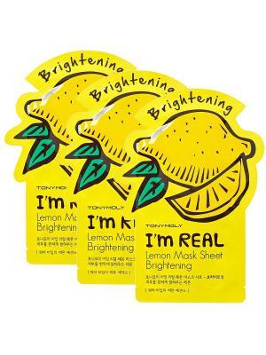 Набор тканевых масок осветляющих I AM REAL (лимон),3*21мл Tony Moly. Цвет: белый