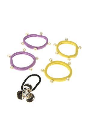 Резинка для волос (5 шт.) Happy Charms Family. Цвет: сиреневый, желтый, золотистый