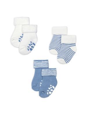 Махровые носочки, 3 пары HappyBabyDays. Цвет: голубой