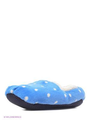 Тапочки-грелки синие в горох Warmies. Цвет: синий