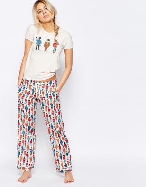 Cath Kidston Пижамные штаны Guards. Цвет: кремовый