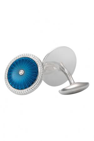 Серебряные запонки с бриллиантами «Эрмитаж» Gourji. Цвет: голубой