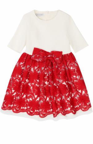 Платье из смеси вискозы и хлопка с вышивкой бантом I Pinco Pallino. Цвет: красный