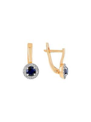 Серьги с бриллиантом и сапфиром Магия Золота. Цвет: золотистый