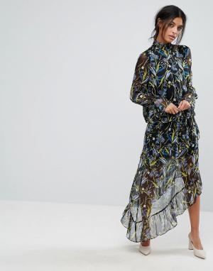 Gestuz Асимметричная юбка с принтом. Цвет: мульти