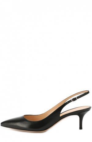 Кожаные туфли с ремешком Gianvito Rossi. Цвет: черный