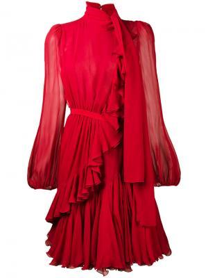 Полупрозрачное платье мини с оборкой Giambattista Valli. Цвет: красный