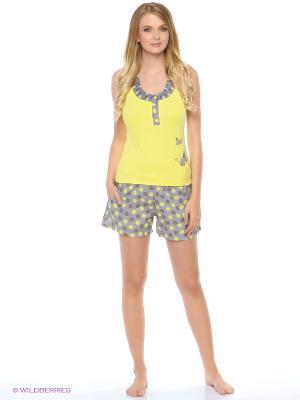 Пижама NICOLETTA. Цвет: серый, желтый