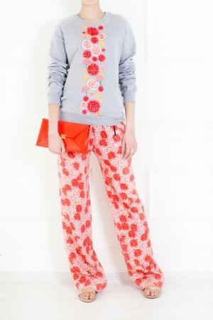 Шелковые брюки Holly Fulton. Цвет: розовый, коралловый