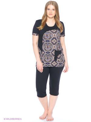 Комплект домашней одежды (футболка, бриджи) HomeLike. Цвет: бежевый, черный