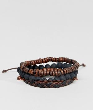 ASOS Набор черных и коричневых браслетов из кожи бусин. Цвет: коричневый