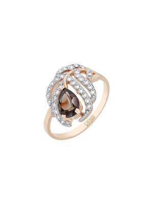 Кольцо с раухтопазом и фианитом Магия Золота. Цвет: золотистый