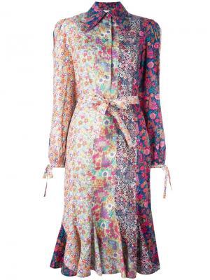 Платье-рубашка с цветочным принтом Olympia Le-Tan. Цвет: многоцветный