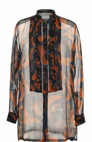 Шелковая полупрозрачная блуза с принтом Dries Van Noten. Цвет: коричневый