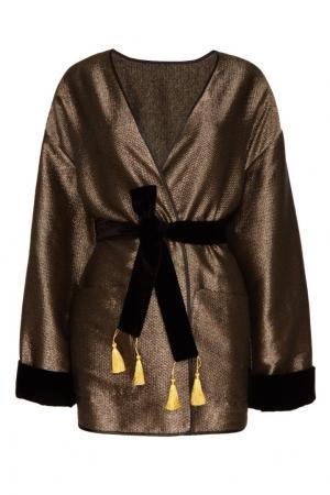 Золотистый халат из шелковой ткани Sophie&Eva. Цвет: золотой