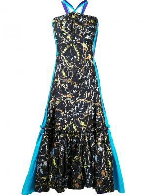 Вечернее платье с расклешенным подолом Peter Pilotto. Цвет: синий