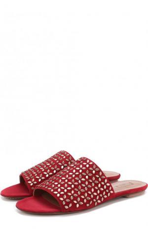 Замшевые сабо с заклепками Alaia. Цвет: бордовый