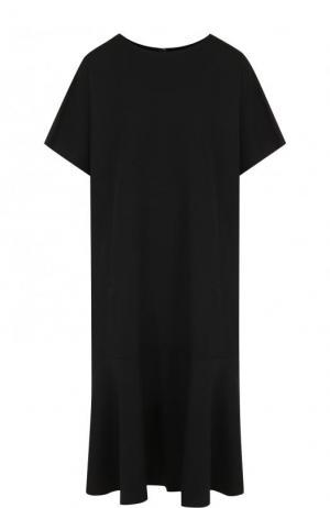 Однотонное шерстяное платье свободного кроя Yohji Yamamoto. Цвет: черный