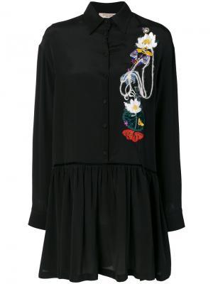 Платье с цветочной вышивкой Piccione.Piccione. Цвет: чёрный