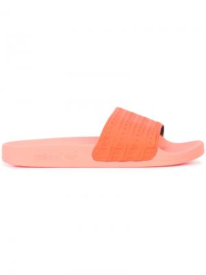 Шлепанцы Adilette Adidas. Цвет: жёлтый и оранжевый