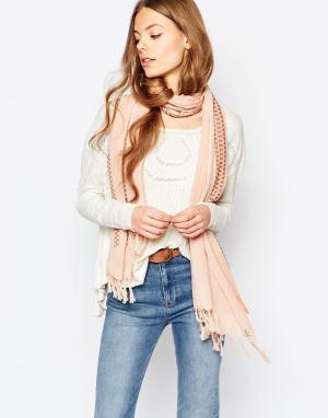 Becksondergaard Полосатый шарф с кисточками Hasnaa. Цвет: розовый