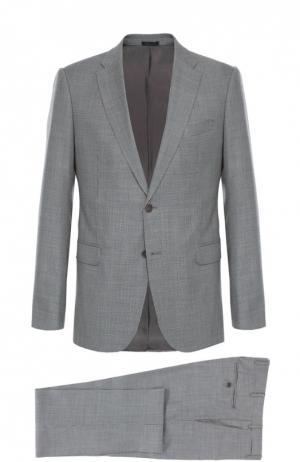 Шерстяной костюм с мелким узором Armani Collezioni. Цвет: черно-белый
