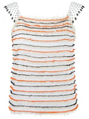 Блузка с вышивкой из бусин Isabela Capeto. Цвет: белый
