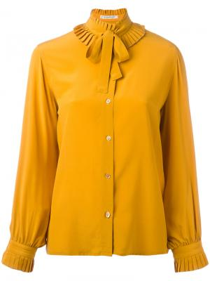 Блузка с завязками на бант Guy Laroche Vintage. Цвет: жёлтый и оранжевый