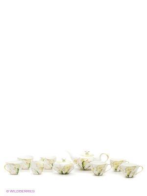 Чайный сервиз на 6 персон Calla Charme Pavone. Цвет: белый, зеленый