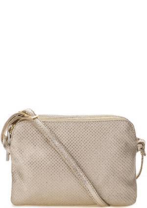 Кожаная сумка с тремя отделами Bruno Rossi. Цвет: золотистый