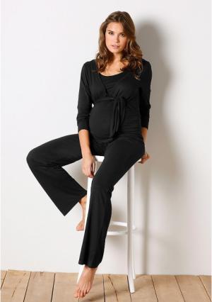 Комплект, 4 части: брюки, топ, кардиган + пояс Neun Monate. Цвет: черный