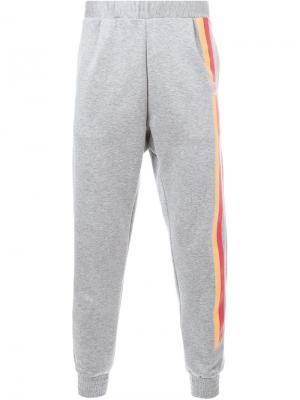 Спортивные брюки с контрастной полоской Yoshio Kubo. Цвет: серый