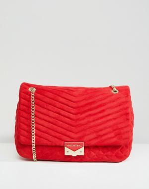 Valentino by Mario Красная стеганая сумка на плечо. Цвет: красный