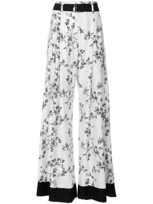 Широкие брюки  с цветочным принтом Ann Demeulemeester Blanche. Цвет: белый