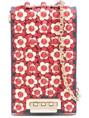 Сумка через плечо с цветочными деталями Zac Posen. Цвет: синий