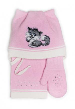 Комплект шапка, шарф и варежки Dan & Dani. Цвет: розовый