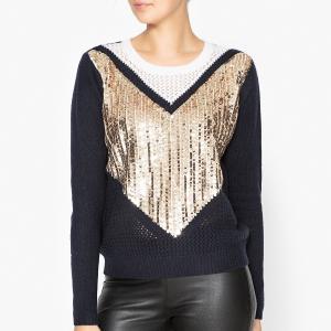 Пуловер трикотажный блестящий Эксклюзив Brand Boutique MANOUSH. Цвет: темно-синий/экрю